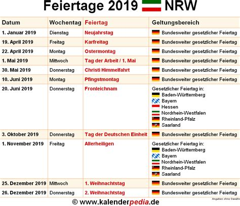 kalender gesetzliche feiertage calendrier