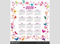 calendar with hearts and butterfly — Stock Photo © cherju
