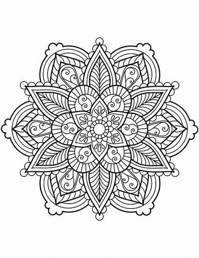 Mandala Coloring Flower Pages Printable Adults Lotus