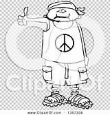 Bandana Wearing Cartoon Shorts Hitchhiker Peace Clipart Clip Sandals Male sketch template