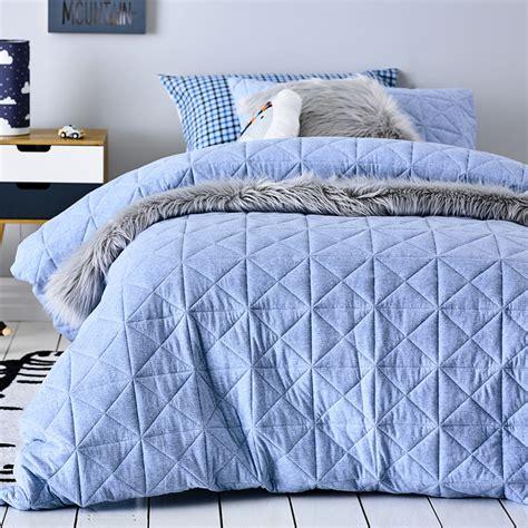 Adairs Kids  Harvie Jersey Quilt Cover Set Blue Bedroom