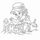 Sand Castle Coloring Cartoon Building Activity Vectors sketch template