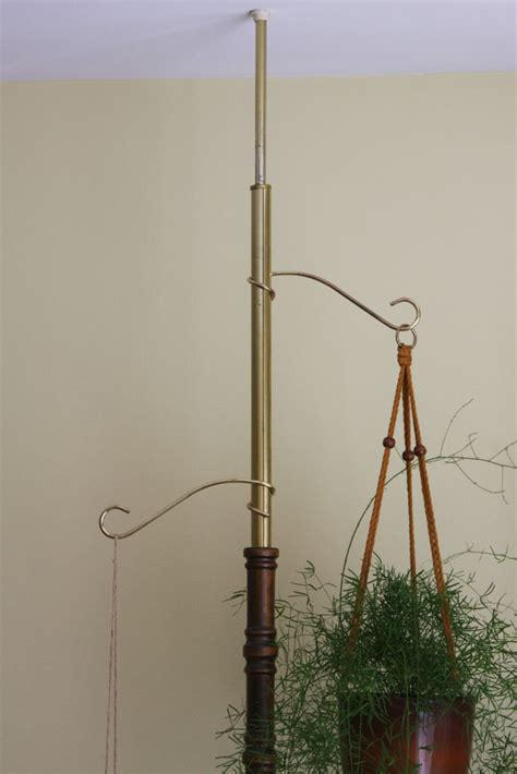 vintage tension pole l vintage tension pole hanging plant stand