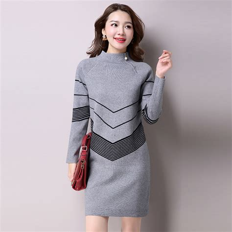 2017 korean fashion women warm knitted sweater dresses