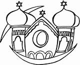 Synagogue Coloring Pages Clipart Clip Template Buildings Cliparts Library sketch template