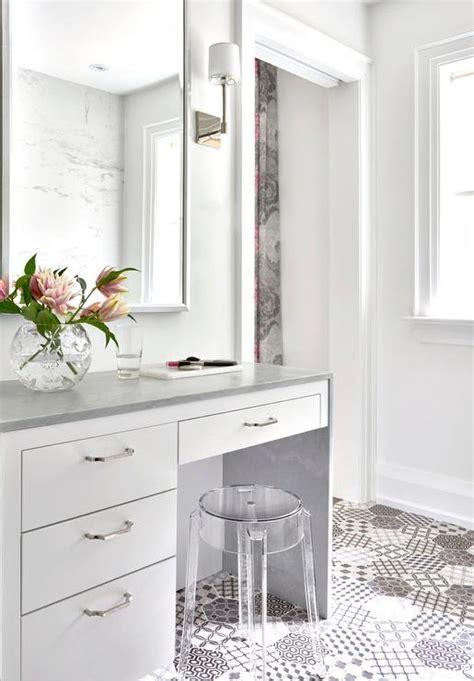 white makeup vanity  gray waterfall countertop