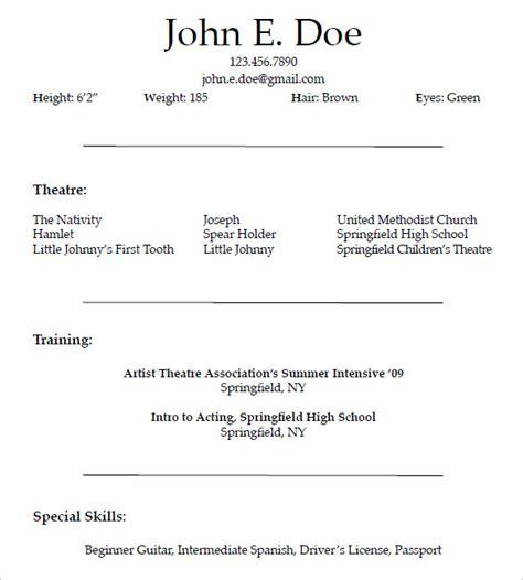 beginner commercial acting resume template