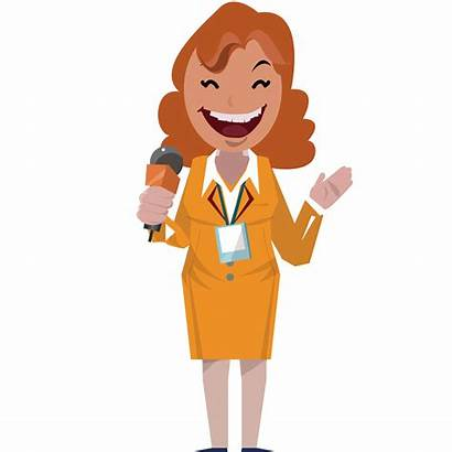 Reporter Presenter Journalist Female Mic Clipart Journalism