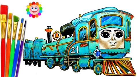draw train thomas  friends coloring pages lexi train video  children youtube