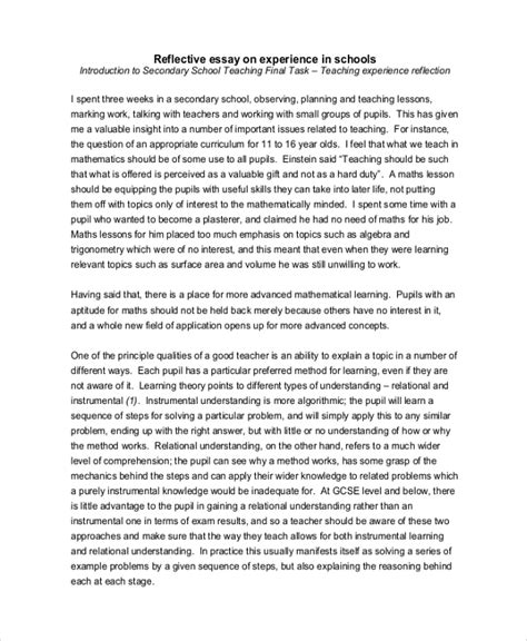 reflective essay examples samples   examples