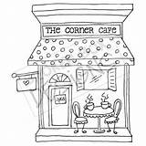Cafe Clipart Drawing Cafeteria Building Corner Cream Ice Hand Digi Boutique Buildings Embroidery Coffee Getdrawings Stamps Pages Patterns Without Drawn sketch template