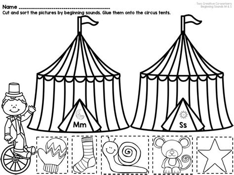 beginning sounds picture sorts mini book circus themed