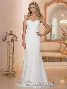 chiffon sheath sweetheart criss cross ruched bodice With ruched bodice wedding dress