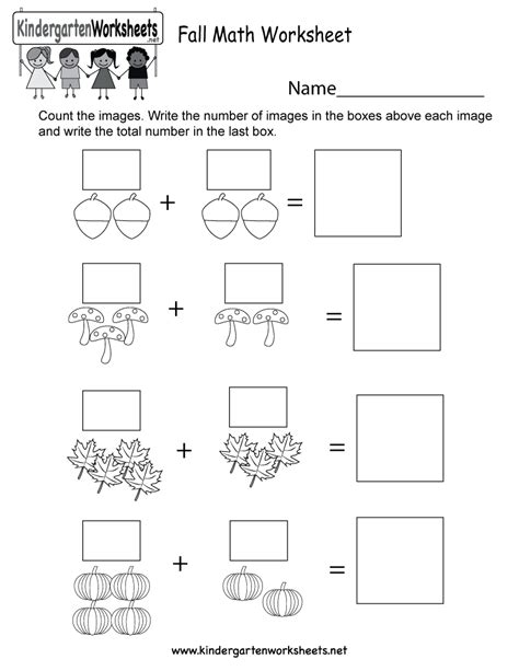 fall math worksheet free kindergarten seasonal worksheet