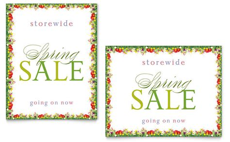 floral border sale poster template word publisher