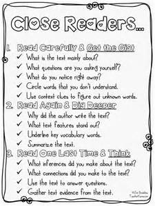 Close Reading Strategies Elementary