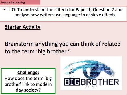 aqa language paper  question  lesson   extract  georges orwells  teaching