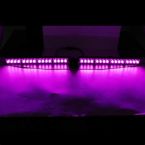 purple led light bar 34 quot 32led warning emergency hazard beacon visor dash