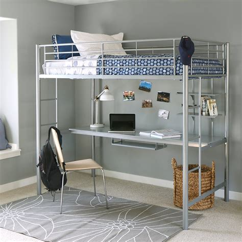 walker edison twin metal loft bed  workstation