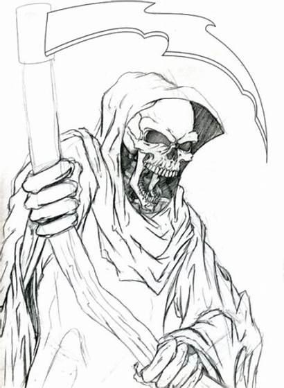 Reaper Grim Outline Tattoo Evil Drawings Drawing