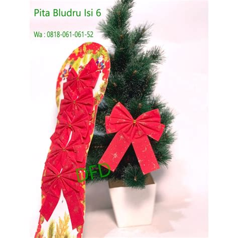 Jual Pita Bludru Natal Merah BESAR Gliter Ornamen Natal