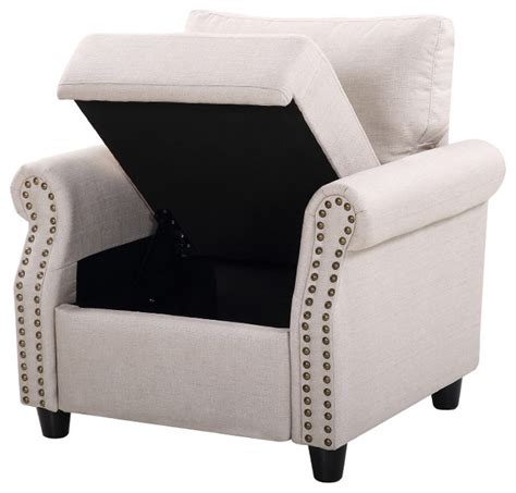 Armchair With Storage by Classic Living Room Linen Armchair With Nailhead Trim And