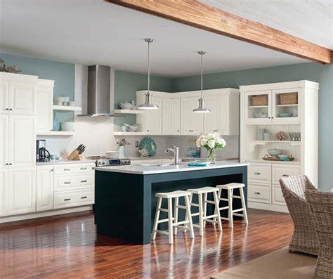 White Glazed Cabinets With Blue Island  Homecrest