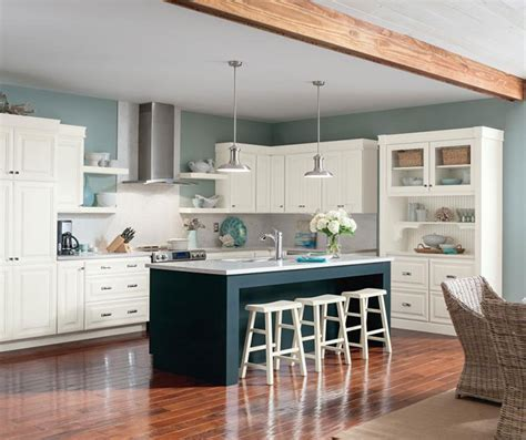 White Glazed Cabinets with Blue Island ? Homecrest