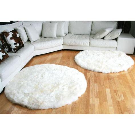tapis rond en peau de mouton blanc achat vente tapis