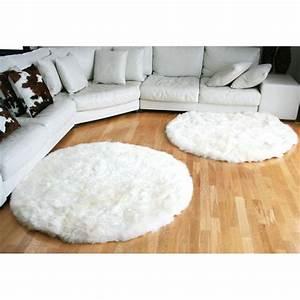 tapis rond en peau de mouton blanc achat vente tapis With tapis en mouton