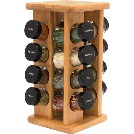 Turning Spice Rack by Lipper Bamboo 16 Bottle Rotating Filled Spice Rack