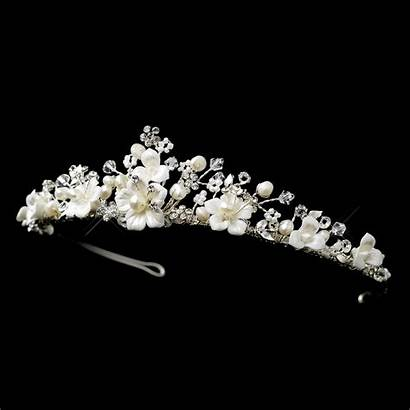 Tiara Crystal Pearl Bead Headpiece Bridal Silver