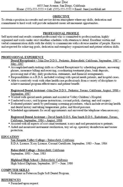 Dental Assistant Resumes Exles by Dental Assistant Resume Exle Berathen