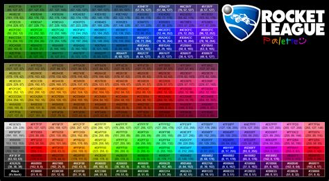 rocket league color palette with hex and rgb values