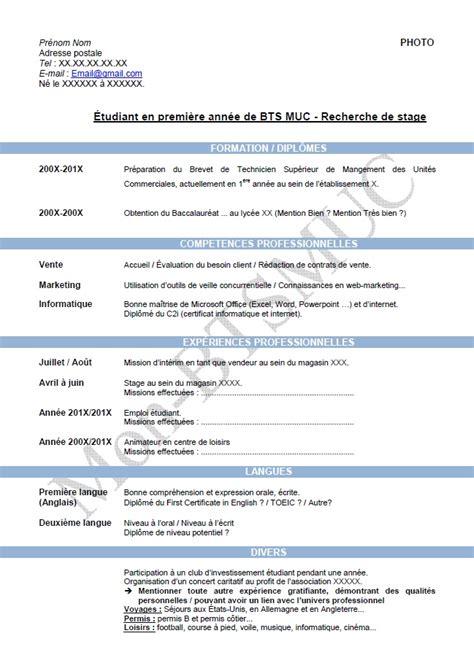 Resume Francais Exemple by Cv Bts Le Dif En Questions