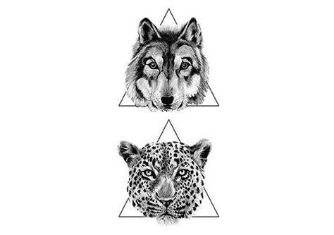 leopard head  wolf head  triangle tattoos design idea
