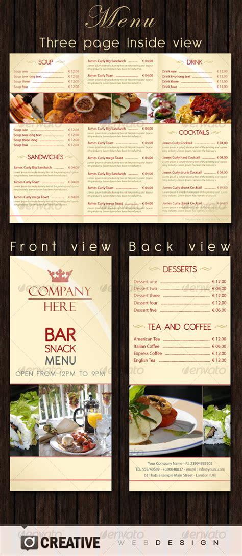 Snack Bar Menu Template by Bar Restaurant Menu Psd By Creative Graphicriver