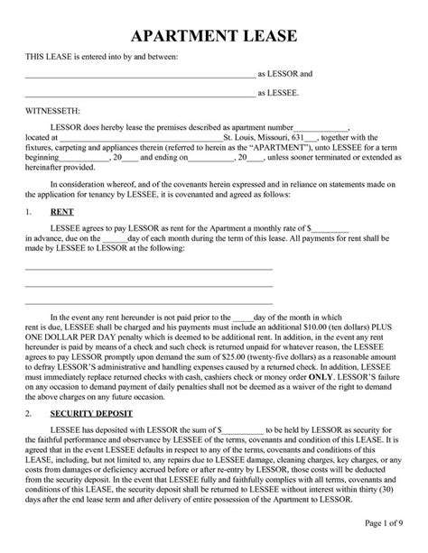 lease agreement sample printable sample rental lease form real estate forms