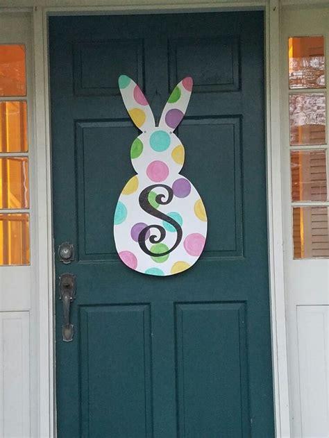 wooden bunny door hanger polkadots  initial easter door