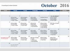Calendar of Events School Counselor, Big Elm