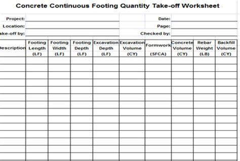 concrete continuous footing quantity