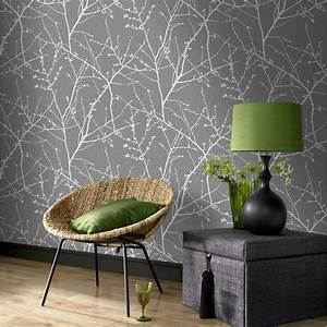 Innocence Wallpaper in Charcoal and Silver from the ...