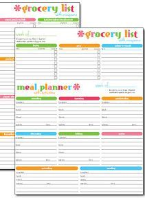 meal plan  grocery list grocery list template