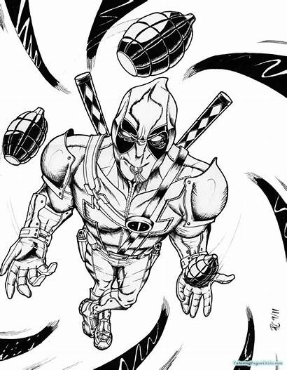 Deadpool Coloring Pages Printable Super Wolverine Colouring