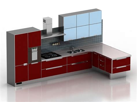 modern red kitchen design  model dsmaxds files   modeling   cadnav