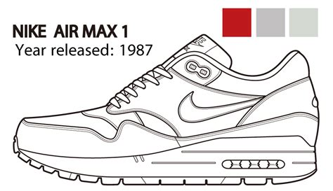 Coloring Nike Air 1 by Nike Air Max 1 Technical Illustration By Whitefox Jp On
