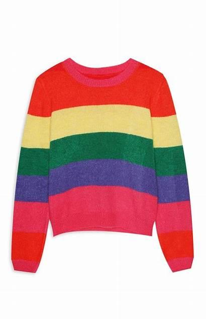 Jumper Primark Rainbow Block Colour Stripe