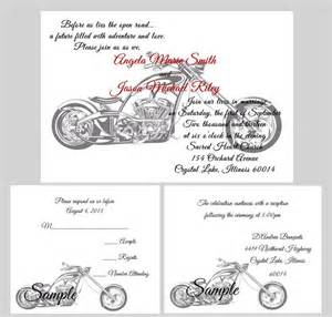 wedding invitation wording casual motorcycle based wedding invitation rsvp cards