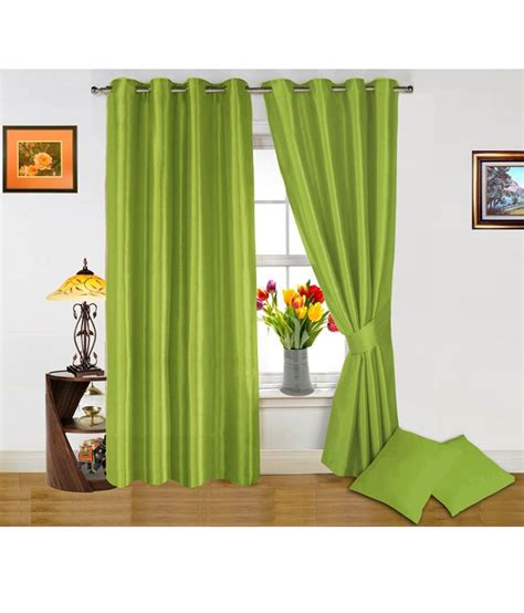 Light Green Drapes - dekor world light green curtain and cushion covers combo