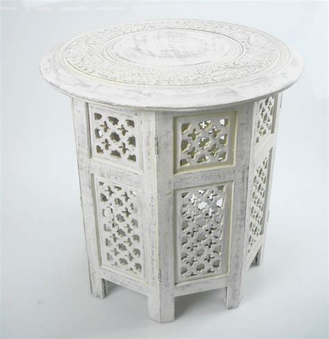 hand carved end tables beautiful round brown white hand carved indian shesham